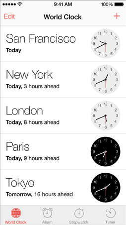 iOS7 Clock Screen