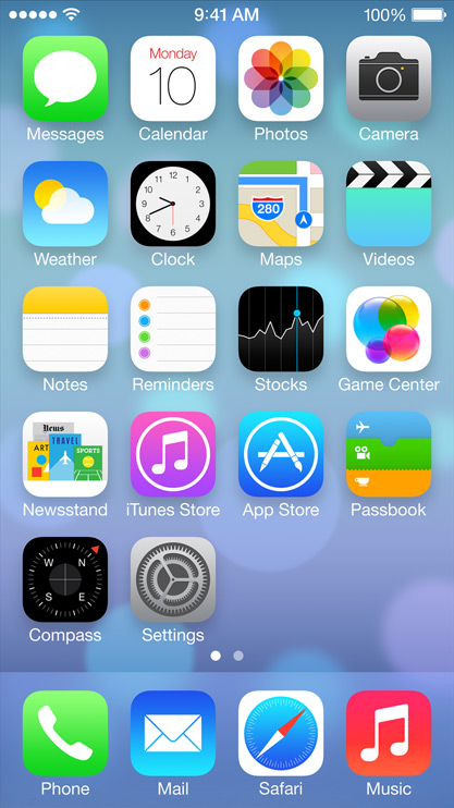 iOS7 Flat Design Screen