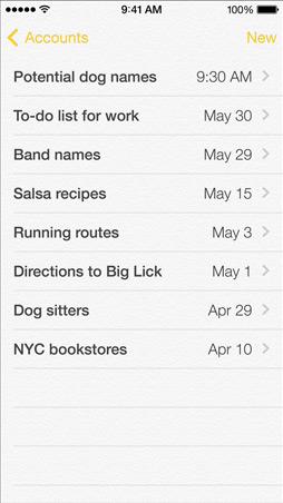 iOS7 Notes Screen
