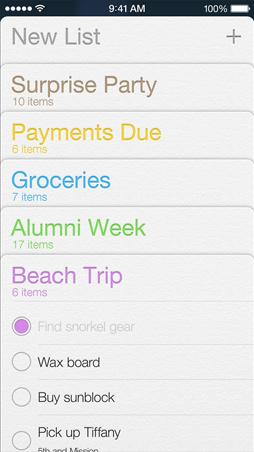 iOS7 Reminders Screen