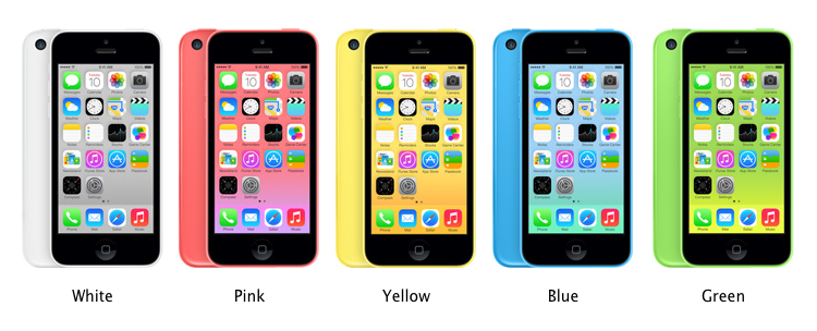 Apple iPhone 5C with its 5 variants (White, Pink, Yellow, Blue, Green)