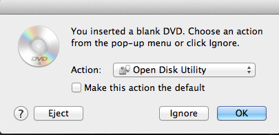 Action for Blank DVD Open Disk Utility