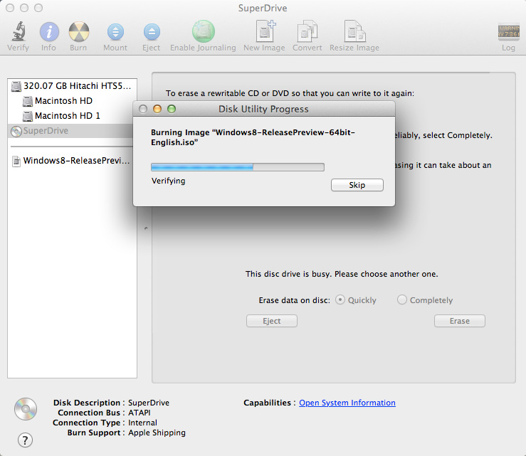 Burning Windows 8 Bootable DVD on Mac