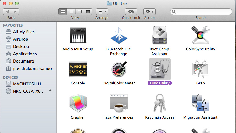 Choose Disk Utility from Utilities on Mac OS X
