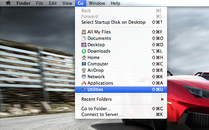 Open Utilities on Mac OS X