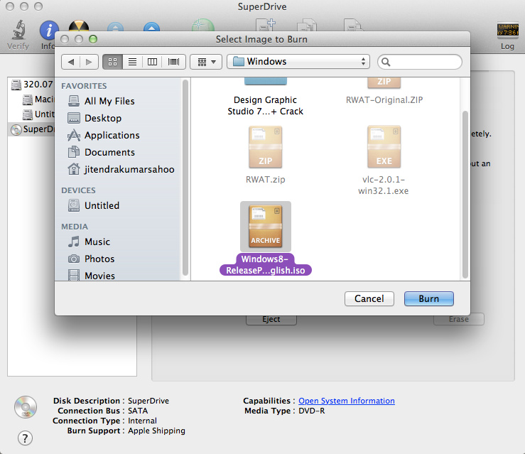 Select Image File to Burn in Disk Utility