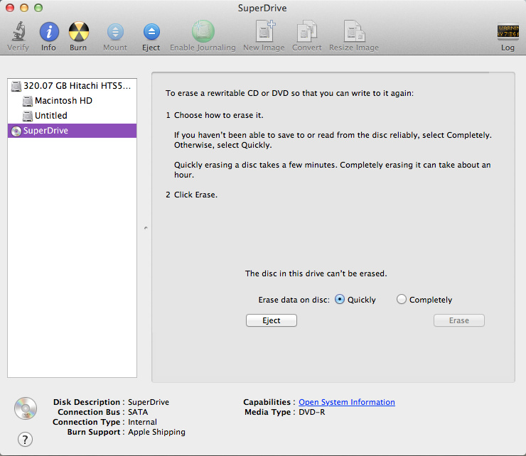 Select Super Drive in Disk Utility